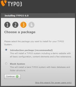 Typo3 Choose a package