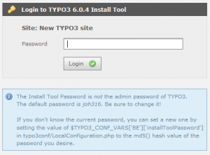 Login to TYPO3 6.0.4 Install Tool