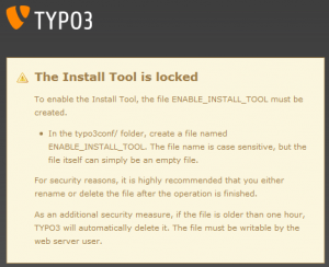 Typo3 The Install Tool is locked